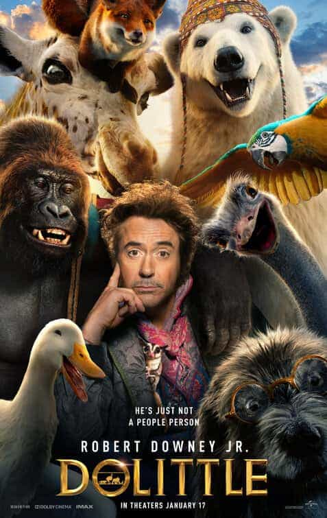 UK Box Office Figures 7th - 9th February 2020:  Dolittle beats Birds Of Prey to the top and 1917 falls to number 3 meanwhile Oscar darling Parasite debuts well