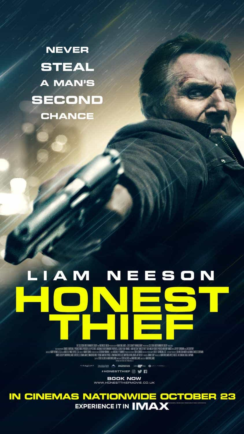 US Box Office Figures 16th - 18th October 2020:  Liam Neeson returns to the action genre in Honest Thief which debuts at number 1