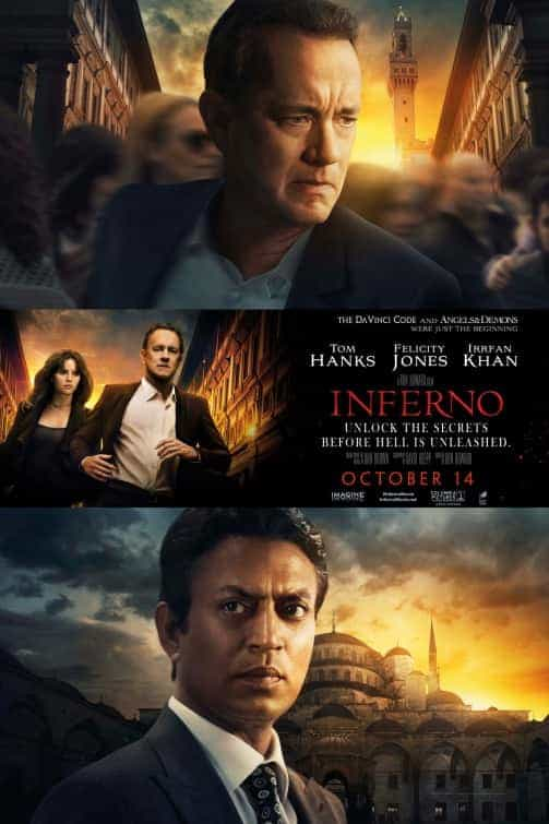 UK Box Office Weekend 14 October 2016:  Inferno not strong enough to topple Girl on the Train